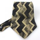 Men's New Murano Italia 100% Silk Black Gold Stripes Tie NWOT Necktie BL055