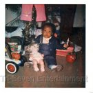 1970s Vintage Cute African-American Boy Christmas Photo Black People Color USA