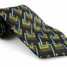 Men's New A. ROGERS 100% Polyester Tie Green Black Blue NWOT Necktie Ties GR0120