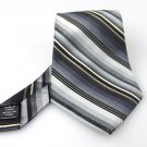 Men's New Via Europa 100% Silk Black with Stripes Tie NWOT Necktie Ties BL049