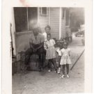 1940s-50s Vintage African-American Family of Five Photo Black People Children