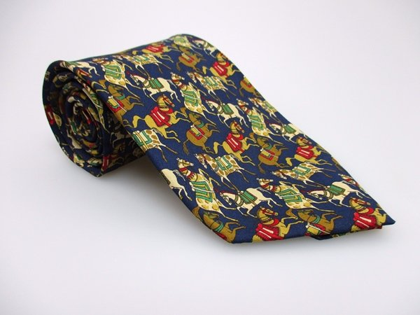SALVATORE FERRAGAMO Men's New 100% Silk Tie HORSES NWOT Necktie Ties ST0218