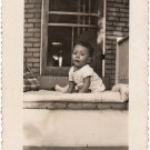 1940-50s Vintage Cutest African-American Baby on Porch Old Photo Black Children