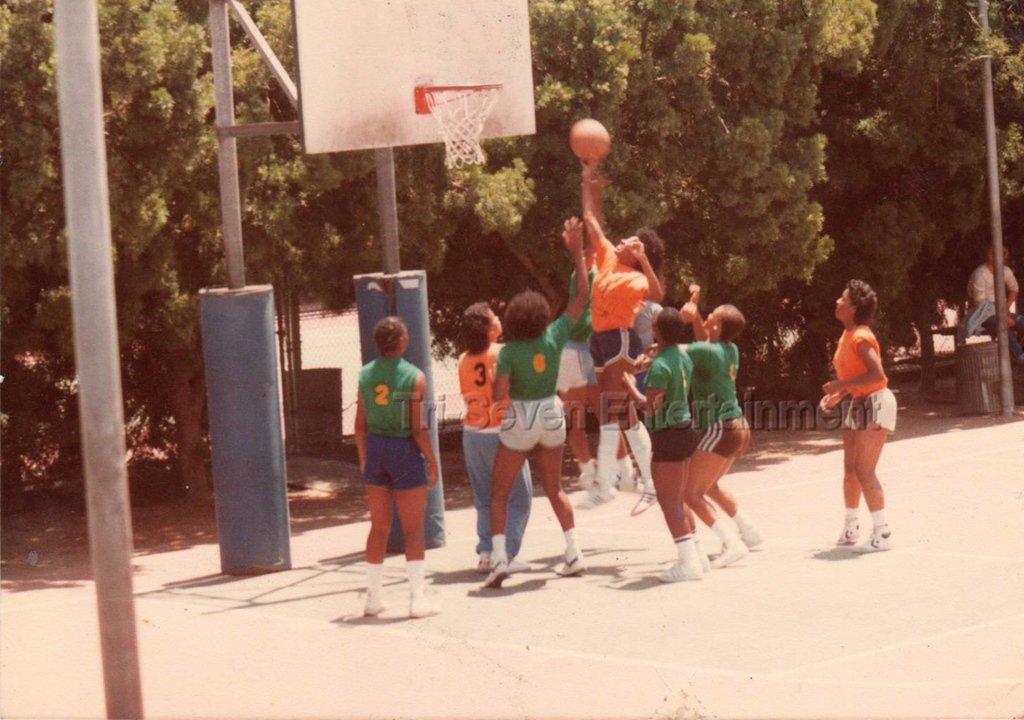 Vintage 1980s Black Women's Basketball Team Photo African-American Team League