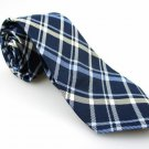 Men's New PIERRE CARDIN Slim 100% Silk Tie Blue Plaid NWOT Necktie Ties BL0143
