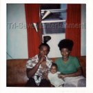 1970s Vintage African-American Couple w/Baby Photo Black People Color Americana