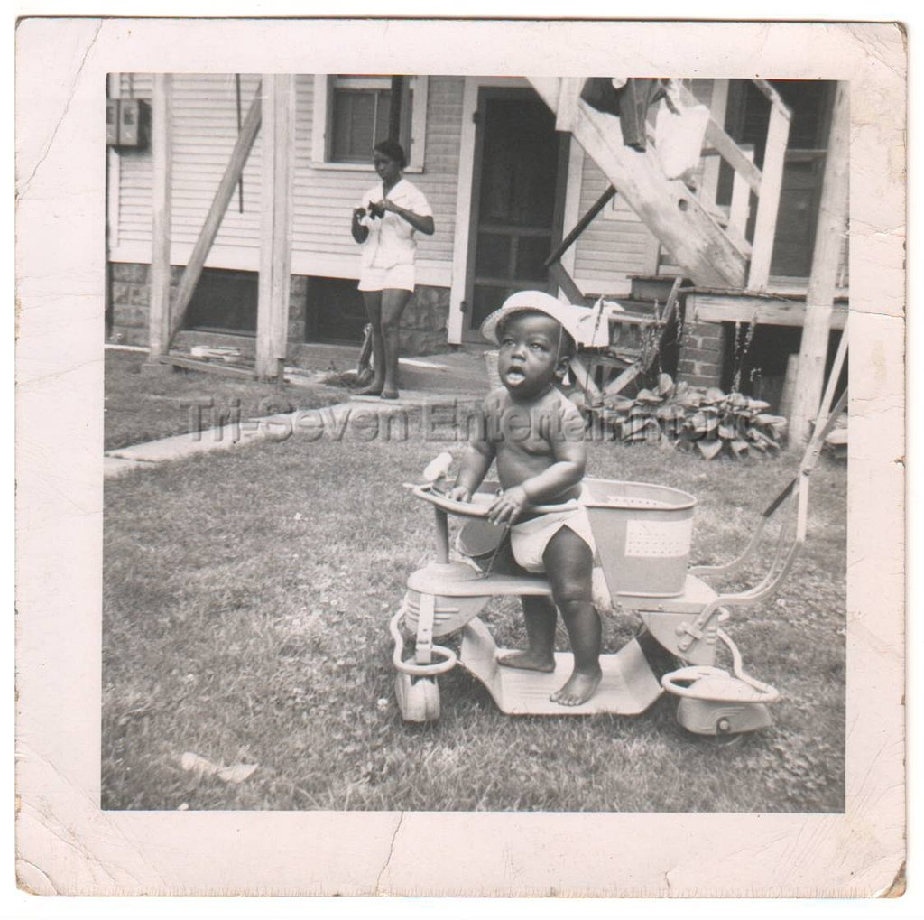1950s-60s Cute African-American Baby Playing in Yard Photo Black Children People