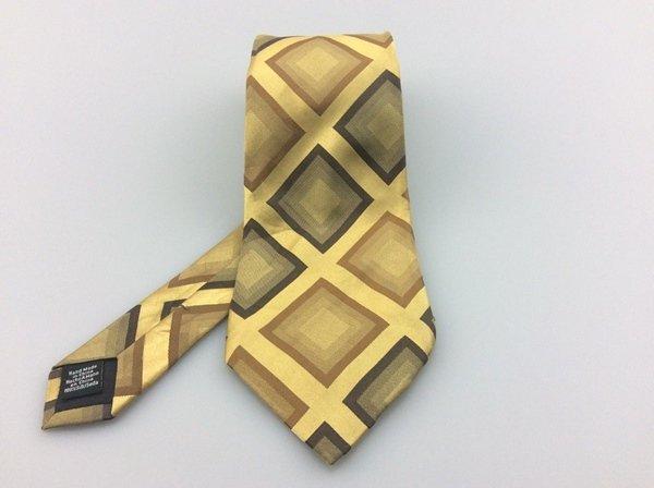 Men's Van Huesen 100% Silk Tie Gold Olive Green Diamond New NWOT Necktie Y003