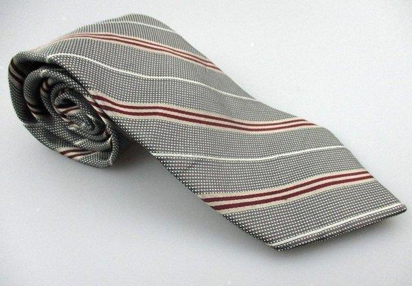 Men's New COVINGTON 100% Silk Tie Red White Gray Stripe NWOT Necktie Ties BWG078