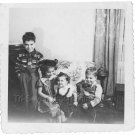 1940-1949 Vintage Happy Kids Old Photo American Children Black & White Original