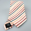 Men's New Geoffrey Beene 100% Silk Tie Orange Red Stripes NWOT Necktie OR066