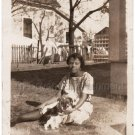 1930-40s Vintage Photo Pretty African-American Woman Grass w/Dog Black Americana