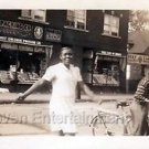 1930-40s Vintage African-American Chicago Woman Crossing Street Photo Americana
