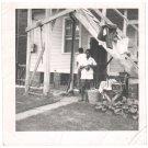 1950s-60s Vintage African-American Woman & Man Backyard Old Photo Black People