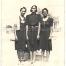 Three Pretty African American Women Black Dresses Vintage Photo Black Americana