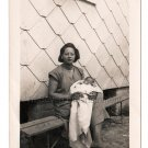 50s African American Pretty Woman Sleeping Baby Vintage Old Photo Black Children