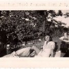 1948 Vintage Cute African-American Woman Relaxing On Grass Photo Black People US