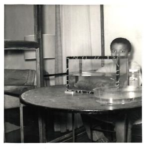 Vintage African American Photo Cute Young Boy and Fish Tank Old Black Americana