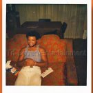 1970s Vintage African-American Man Photo Smiling Couch Black People Polaroid USA