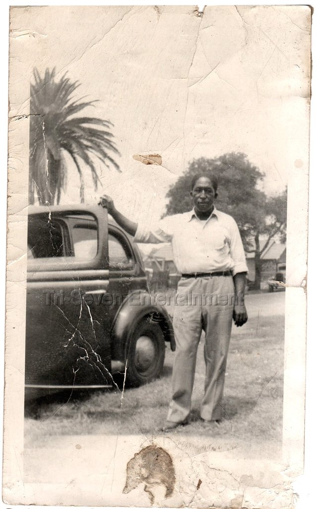 1940-1949 Vintage African-American Man Standing by Car Old Photo Black Americana
