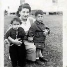1940s Vintage 2 Young Kids w/Mama Cute Old Photo B&W Little Children American US