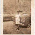 1930s-1940s Moody African-American Girl Posing By Car Antique Photo Black People