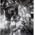 1940s Vintage Young Boy w/ Grandmother Front of House Photo Americana B&W USA