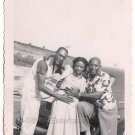 Vintage African American Pretty Woman Men Fun Beach Car Photo Black Americana