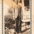 1940s Vintage African-American Texas Man in Front of House Photo Black People US