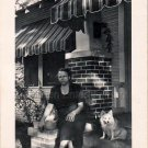 1950s African-American Woman On Porch w/Corgi Dog Old Photo Black Americana