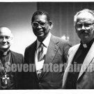 Vintage African American Old 5x7 Photo Man with Catholic Priests Black Americana