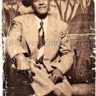 1940s Handsome Older African-American Man Medium Photo Booth Black Americana
