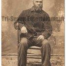 Antique African American Man Old Real Photo Postcard RPPC Black Americana