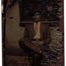 Antique African American Photo Handsome Man in Suit Tintype Old Black Americana