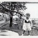 1940s Vintage Smiling Boy by Water Pump Cute Old Photo B&W Children American USA