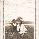 1940-1949 Vintage Stylish African-American Women Relaxing On Grass Photo B&W USA