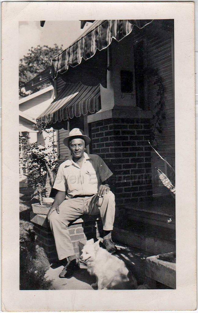 1950s African-American Older Man On Porch w/Corgi Dog Old Photo Black Americana