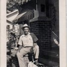 1950s African-American Older Man On Porch w/Corgi Dog Old Photo Black Americana
