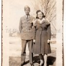 Pretty African American Woman w/Army Military Soldier Old Photo Black Americana