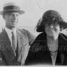 Vintage 1920s Photo of Man Wearing Boater Hat with Woman at Beach - Couple B&W