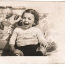 1940-1949 Vintage Happy Toddler Photo Baby American Kids Old Original B&W USA