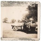 Vintage African American Photo Man Front of Big Car People Old Black Americana