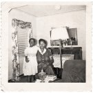 1950s Loving Mother w/Daughter in Living Room Old Photo Black Children People