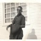 Vintage African American Photo Handsome Young Man Glasses Old Black Americana