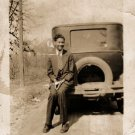 Antique Handsome African American Man in Front of Car Old Photo Black Americana