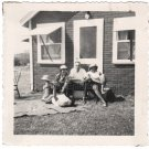 1960s Vintage Four African-American People Hanging Out in Backyard Old Photo