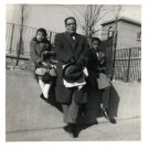Vintage African American Photo Children w/ Grandfather Boy Girl Black Americana