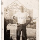 Vintage Handsome African American Young Black Man Construction Worker Old Photo