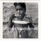 Vintage African American Photo Pretty Young Girl Eating Old Black Americana