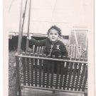 1940-1949 Vintage Adorable American Baby Girl Posing Backyard Swing Old Photo US